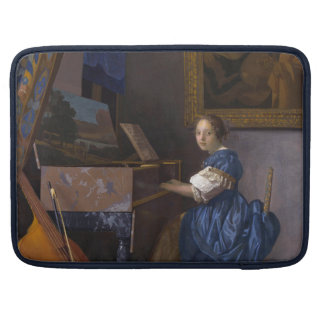 Woman Seated at a Virginal by Vermeer Sleeves For MacBook Pro