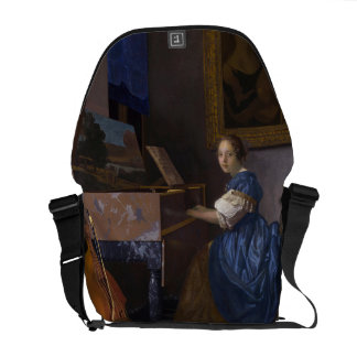 Woman Seated at a Virginal by Vermeer Messenger Bag
