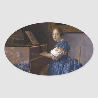 Woman Seated at a Virginal by Vermeer Oval Sticker