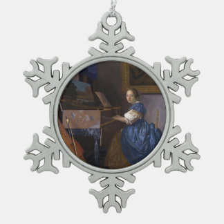Woman Seated at a Virginal by Vermeer Snowflake Pewter Christmas Ornament