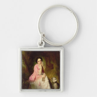 Woman Seated in a forest glade Keychain