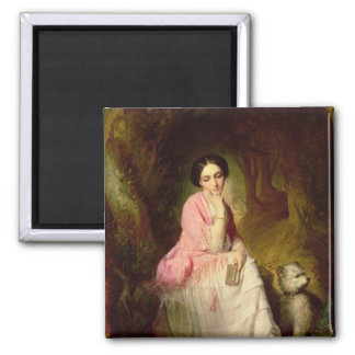 Woman Seated in a forest glade Magnet