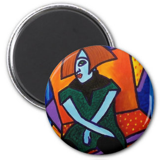Woman Seated J 7 2 Inch Round Magnet