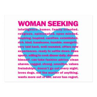 woman seeking LOVE Postcard