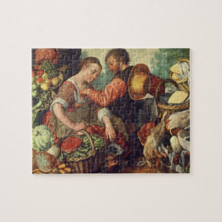 Woman Selling Vegetables, 1567 (oil on canvas) Jigsaw Puzzle