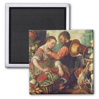 Woman Selling Vegetables, 1567 (oil on canvas) Magnet