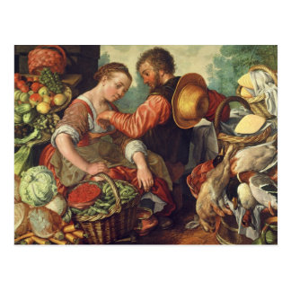 Woman Selling Vegetables, 1567 (oil on canvas) Postcard