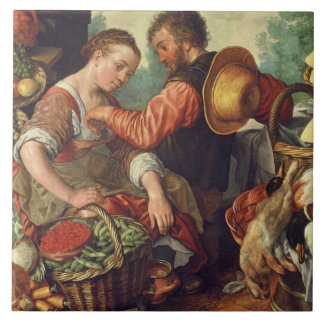 Woman Selling Vegetables, 1567 (oil on canvas) Tile