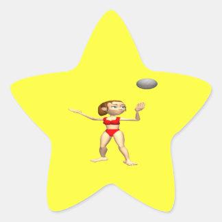 Woman Server Star Sticker