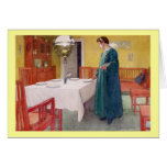 Woman Setting the Table Greeting Card
