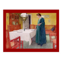 Woman Setting the Table Postcard