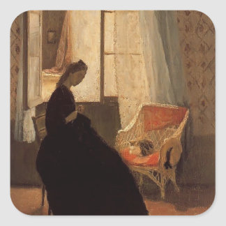 Woman Sewing at a Window by Gwen John Sticker