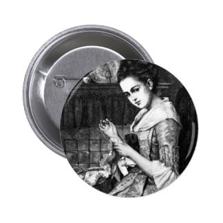 Woman Sewing Button