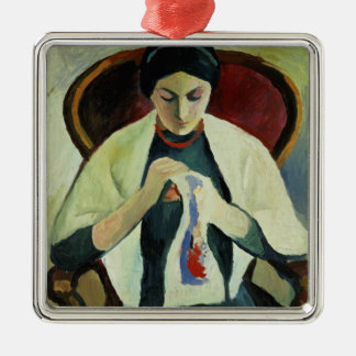 Woman Sewing Metal Ornament