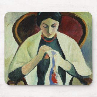 Woman Sewing Mouse Pad