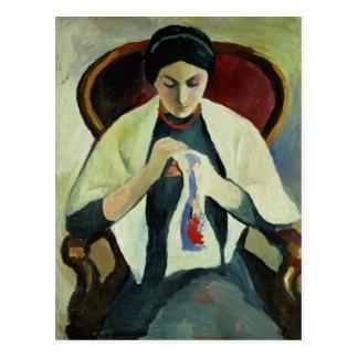 Woman Sewing Postcard