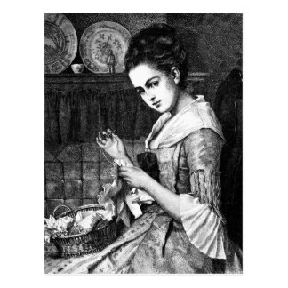 Woman Sewing Post Cards