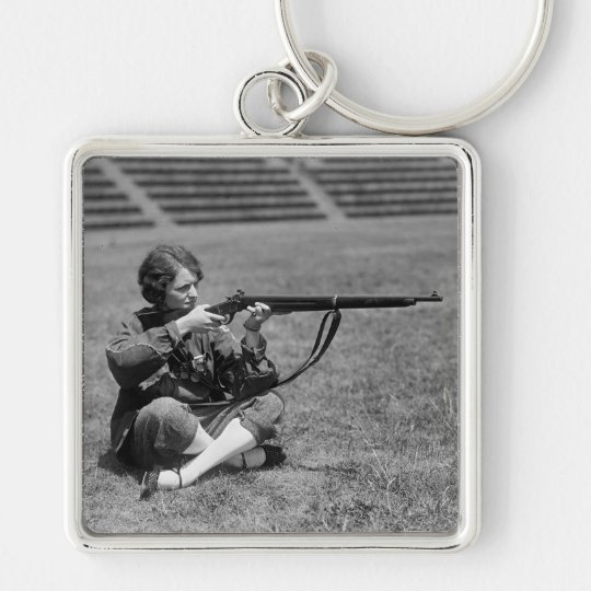 Woman Sharpshooter, 1920s Keychain