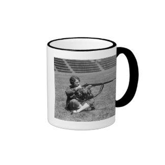 Woman Sharpshooter, 1920s Ringer Coffee Mug