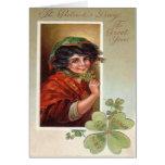 Woman Shawl Shamrock Four Leaf Clover Greeting Card