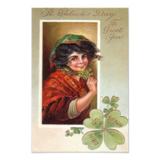 Woman Shawl Shamrock Four Leaf Clover Photo Print