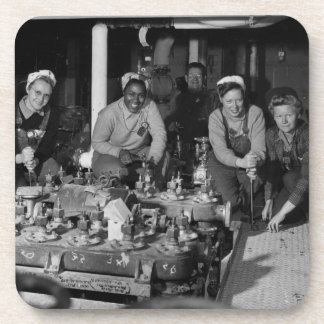 Woman Shipfitters Working on Submarine Beverage Coaster
