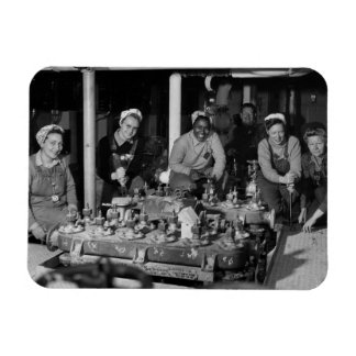 Woman Shipfitters Working on Submarine Magnet