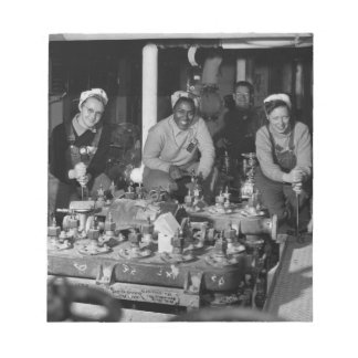 Woman Shipfitters Working on Submarine Notepad