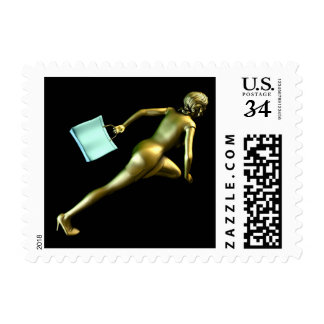 Woman Shopper Running for a Sales Event Postage Stamp