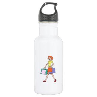 Woman Shopping 18oz Water Bottle