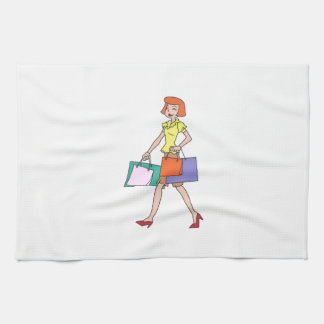 Woman Shopping Kitchen Towels