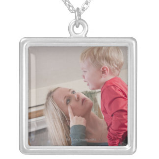Woman signing the word 'Cry' in American Sign Silver Plated Necklace