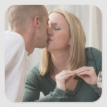 Woman signing the word 'Kiss' in American Sign Square Stickers
