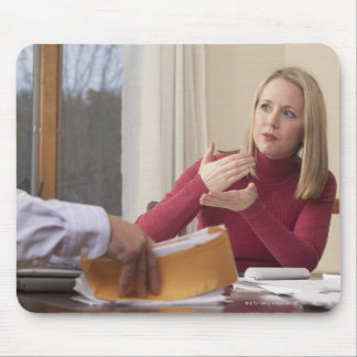 Woman signing the word 'Mortgage' in American Mouse Pad