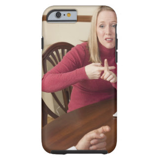 Woman signing the word 'Rent' in American Sign Tough iPhone 6 Case