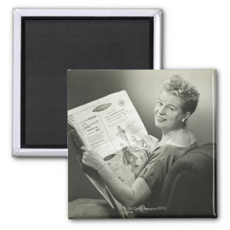 Woman Sitting in Chair Magnet