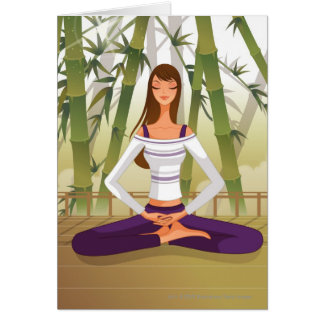 Woman sitting in lotus position, meditating card
