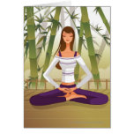 Woman sitting in lotus position, meditating cards
