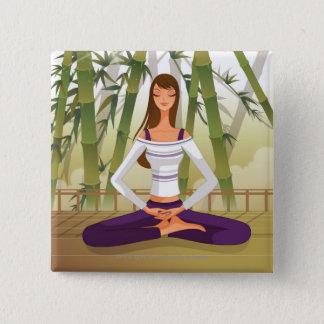 Woman sitting in lotus position, meditating pinback button