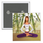 Woman sitting in lotus position, meditating pins