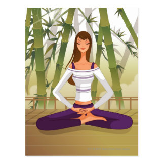 Woman sitting in lotus position, meditating postcard