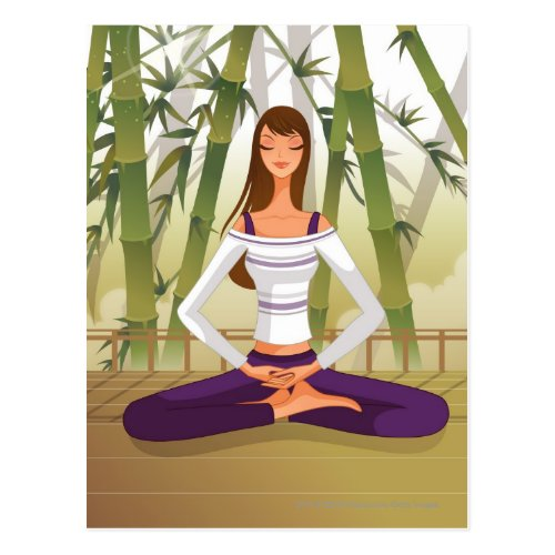 Woman sitting in lotus position meditating postcard
