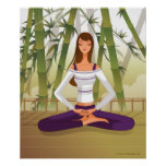 Woman sitting in lotus position, meditating poster