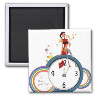 Woman sitting on a clock and holding a tea cup 2 inch square magnet