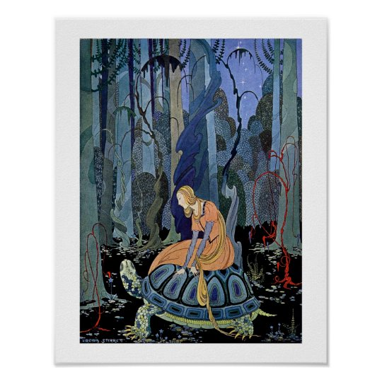 Woman sitting on a tortoise poster