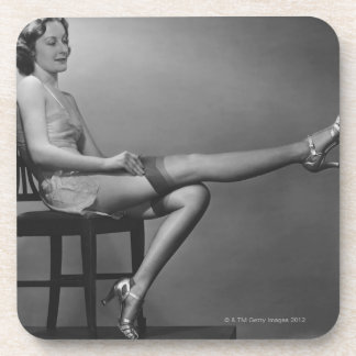 Woman Sitting on Chair Coaster
