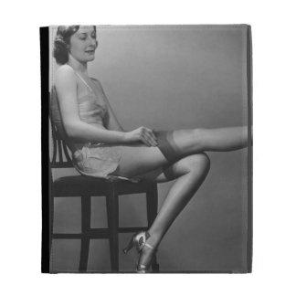 Woman Sitting on Chair iPad Case