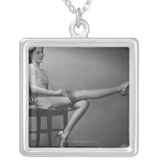 Woman Sitting on Chair Square Pendant Necklace