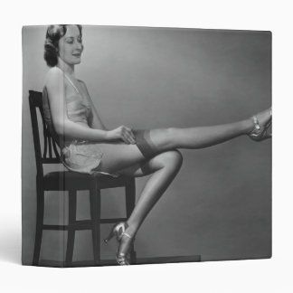 Woman Sitting on Chair Vinyl Binder