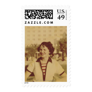 Woman Sitting Outside Postage Stamps